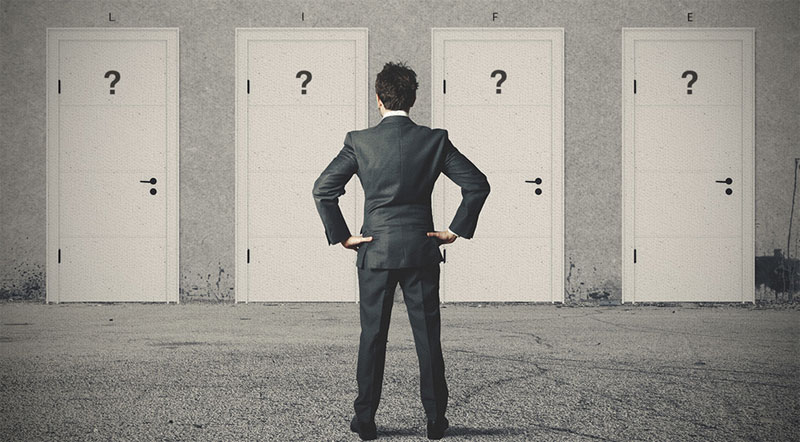 Man Deciding Doors